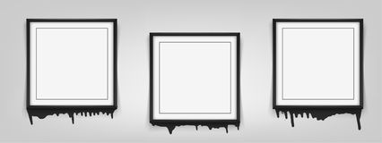 Set of square black frames on white background with streaks of paint. Vector illustration. EPS 10 vector illustration