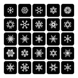 Set of square black and white snowflake icons  on white Stock Image