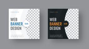 Set of square black and white web banners with semi-circular ele. Ments and a place for a photo. Vector template with round button blue and orange text Stock Images