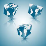 Set of square blue abstract planet of  earth, eps 10. Royalty Free Stock Images