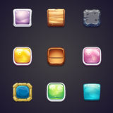 Set of square buttons of different materials for the web design and computer games.  royalty free illustration