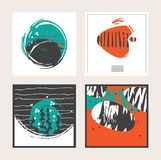 Set of  square cards, dedicated to sea, seaweed, fish. Abstract conceptual cards decoration hand drawn with aqua, orange, bl Stock Photos