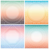 Set of square cards with ornamental frame on tender gradient background. Bohemian ornament for posters, banners. Stock Image