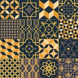 Set of square ceramic tiles with elegant traditional oriental patterns. Bundle of decorative ornaments, ornamental. Weaving textures in yellow and black colors royalty free illustration