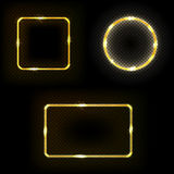 Set of square, circle, frame with lights effects  Royalty Free Stock Photo