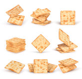 The set of square crackers with shadow Stock Image