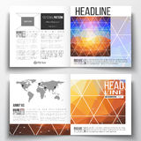 Set of square design brochure template. Abstract colorful polygonal background, modern stylish triangle vector texture Stock Photos
