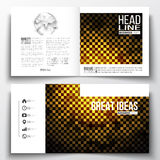 Set of square design brochure template. Abstract polygonal background, modern stylish golden vector texture Stock Image