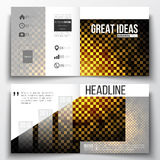 Set of square design brochure template. Abstract polygonal background, modern stylish golden vector texture Royalty Free Stock Photography