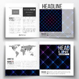 Set of square design brochure template. Abstract polygonal background, modern stylish sguare vector texture Stock Images