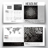 Set of square design brochure template. Abstract polygonal background, modern stylish silver vector texture Royalty Free Stock Photography