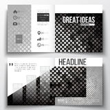 Set of square design brochure template. Abstract polygonal background, modern stylish silver vector texture Stock Photos