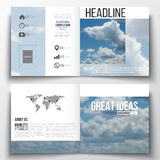 Set of square design brochure template. Beautiful blue sky, abstract background with white clouds, leaflet cover. Business layout, vector illustration stock illustration