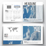 Set of square design brochure template. Beautiful blue sky. Abstract background with white clouds, leaflet cover, business layout, vector illustration stock illustration