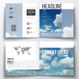 Set of square design brochure template. Beautiful blue sky, abstract geometric background with white clouds, leaflet. Cover, business layout, vector Stock Images