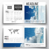 Set of square design brochure template. Beautiful blue sky, abstract geometric background. With white clouds, leaflet cover, business layout, vector Royalty Free Stock Photos