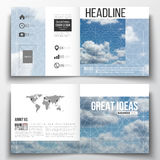 Set of square design brochure template. Beautiful blue sky, abstract geometric background with white clouds, leaflet. Cover, business layout, vector Royalty Free Stock Photo