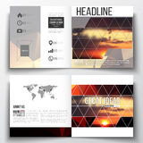 Set of square design brochure template. Colorful polygonal backdrop, blurred natural background, amazing summer sunset Stock Photo