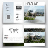 Set of square design brochure template. Colorful polygonal background, blurred image, airport landscape, modern stylish Royalty Free Stock Photo
