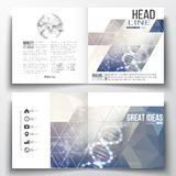 Set of square design brochure template. DNA molecule structure on a blue background. Science vector. Royalty Free Stock Photo