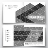 Set of square design brochure template. Microchip background, electrical circuits, construction with connected lines Royalty Free Stock Images
