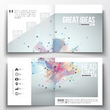 Set of square design brochure template. Molecular construction with connected lines and dots, scientific pattern  Stock Images