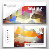 Set of square design brochure template. Molecular construction with connected lines and dots, scientific pattern on Stock Image