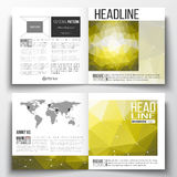 Set of square design brochure template. Molecular construction Royalty Free Stock Image