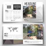 Set of square design brochure template. Polygonal background, blurred image, urban landscape, street in Montmartre Royalty Free Stock Image