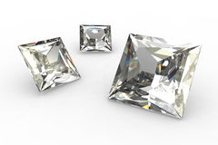 Set of square diamonds - 3D Royalty Free Stock Photo