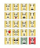 Set of square emoticon faces, collection of isolated vector emoji. Royalty Free Stock Image
