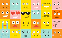 Set square emoticons with different emotions, vector illustration.  Royalty Free Stock Photos