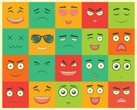 Set of square emoticons. Emoticon for web site, chat, sms. Vector Stock Image