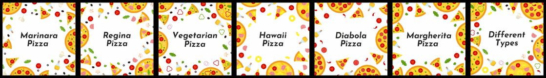 Set of square frames. Different types of pizza. royalty free illustration