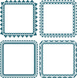 Set of 4 square frame with round corners Stock Image