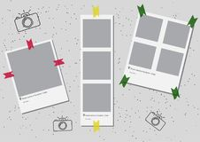 A set of square frame template with shadows and with colored tape green yellow red. Vector illustration EPS 10. Photo Stock Images