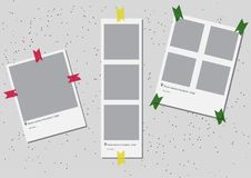 A set of square frame template with shadows and with colored tape. Vector illustration EPS 10. Photo frames. Photobook Royalty Free Stock Photo