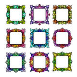 Set of 9 square frames. Set of 9 delicate square frames with place for your text or picture for your design. Colorful rectangle borders in stained-glass style Stock Photos
