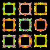 Set of 9 square frames. Set of 9 delicate square frames with place for your text or picture for your design. Colorful rectangle borders in stained-glass style Royalty Free Stock Image