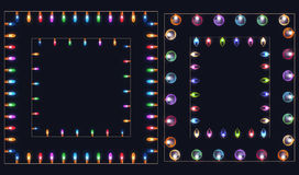 Set of square frames of different colored garlands and lights. Stock Photography