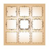 Set of square frames for greeting cards. Place for text Royalty Free Stock Photo