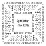 Set of square black and white frames from hand drawn different arrows. Set of square frames from hand drawn different arrows. Vector background for your design Royalty Free Stock Image