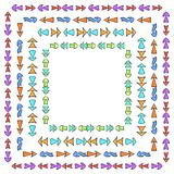 Set of square frames from hand drawn multicolored different arrows. Vector background for your design Stock Photo