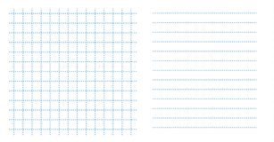 Set square grid small notebook sheet paper art blue color in dotted line and horizontal lines template. Sheet small paper stock illustration