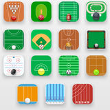 Set of Square icons with sports field end equipment. Stock Images