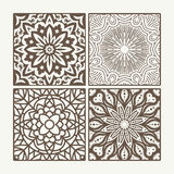 Set of 4 square lace floral vintage designs. Vector illustration Royalty Free Stock Photos