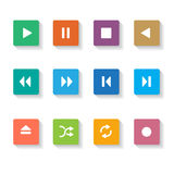 Set of 12 square  Media Buttons. Stock Photo