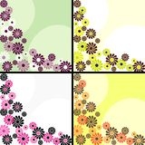Set of square retro backgrounds with flowers. Four 1960's/1970's retro banners in bright colors. The tiles can be combined seamlessly. Graphics are grouped and Stock Photography