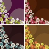 Set of square retro backgrounds with flowers. Four 1960's/1970's retro banners in dark colors. The tiles can be combined seamlessly. Graphics are grouped and in Stock Images