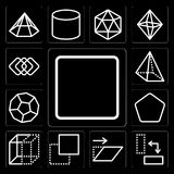 Set of Square, Rotate, Transform, Layer, Squares, Pentagon, Dodecahedron, Pyramid, editable icon pack. Set Of 13 simple editable icons such as Square, Rotate Royalty Free Stock Photo